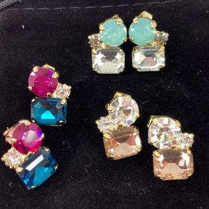 Pick your favorite- Trio crystal post earring, NWT